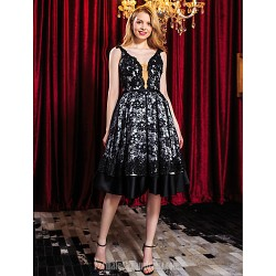 Australia Cocktail Party Dress Black A-line Straps Short Knee-length Lace