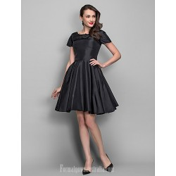 Australia Cocktail Party Dress Black Plus Sizes Dresses Petite A-line Princess Bateau Short Knee-length Taffeta
