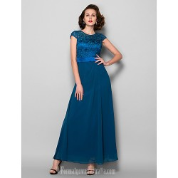 A-line Plus Sizes Dresses Petite Mother of the Bride Dress Ink Blue Ankle-length Short Sleeve Chiffon Lace