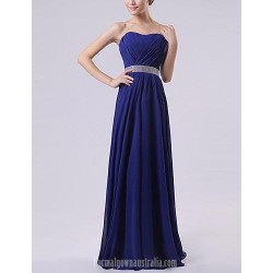 Long Floor-length Chiffon Bridesmaid Dress Royal Blue Ruby Watermelon White Lavender A-line Sweetheart