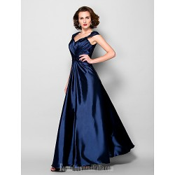 A-line Plus Sizes Dresses Petite Mother of the Bride Dress Dark Navy Long Floor-length Sleeveless Stretch Satin Lace