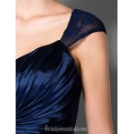 A-line Plus Sizes Dresses Petite Mother of the Bride Dress Dark Navy Long Floor-length Sleeveless Stretch Satin Lace Formal Dress Australia