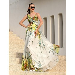 Australia Formal Dress Evening Gowns Print Plus Sizes Dresses A-line Straps Long Floor-length Chiffon