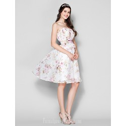 Short Knee-length Chiffon Bridesmaid Dress Print Plus Sizes Dresses Petite A-line Strapless
