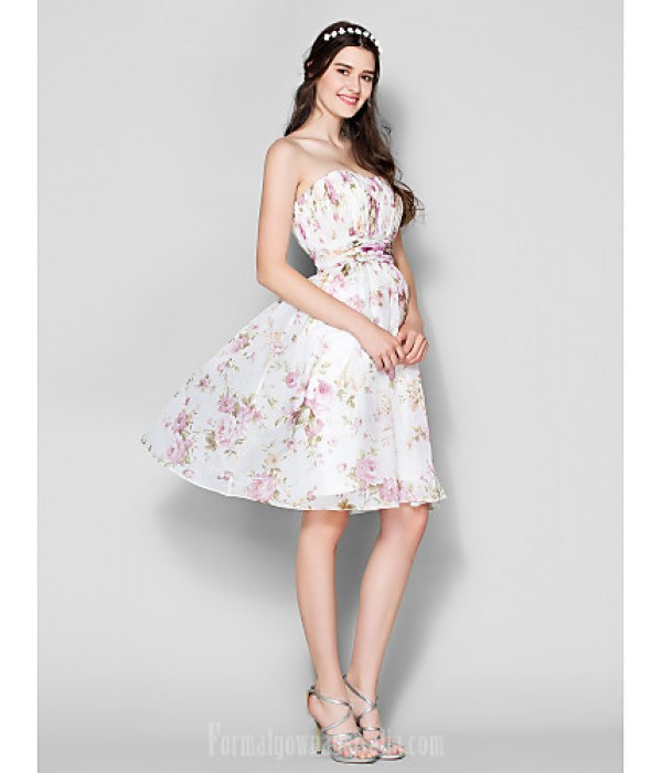 Short Knee-length Chiffon Bridesmaid Dress Print Plus Sizes Dresses Petite A-line Strapless Formal Dress Australia