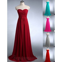 Long Floor Length Chiffon Bridesmaid Dress Burgundy Fuchsia Dark Green Regency Silver White Royal Blue Pool Jade A Line