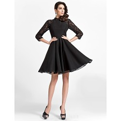Australia Cocktail Party Dress Black Plus Sizes Dresses Petite A-line Princess High Neck Short Knee-length Chiffon Lace