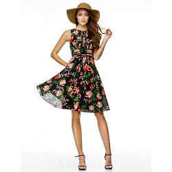Australia Cocktail Party Dress Print A-line Jewel Short Knee-length Chiffon