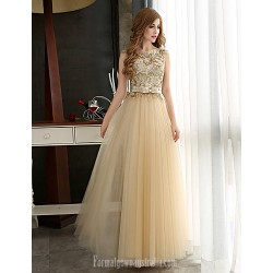 Australia Formal Dress Evening Gowns Gold Plus Sizes Dresses A-line Bateau Long Floor-length Tulle Dress