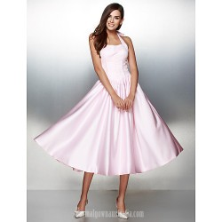 Australia Formal Dress Evening Gowns Candy Pink A Line Halter Tea Length Satin