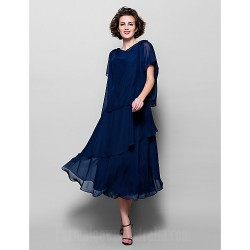 A-line Plus Sizes Dresses Petite Mother of the Bride Dress Dark Navy Tea-length Short Sleeve Chiffon