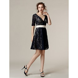 Short Knee-length Lace Bridesmaid Dress Dark Navy Plus Sizes Dresses Petite A-line V-neck