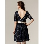 Short Knee-length Lace Bridesmaid Dress Dark Navy Plus Sizes Dresses Petite A-line V-neck Formal Dress Australia