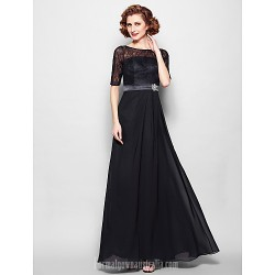 A-line Plus Sizes Dresses Petite Mother of the Bride Dress Black Long Floor-length Half Sleeve Chiffon Lace