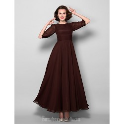A-line Plus Sizes Dresses Petite Mother of the Bride Dress Chocolate Ankle-length Half Sleeve Chiffon