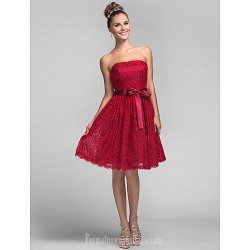 Short Knee-length Lace Bridesmaid Dress Burgundy Plus Sizes Dresses Petite A-line Princess Strapless