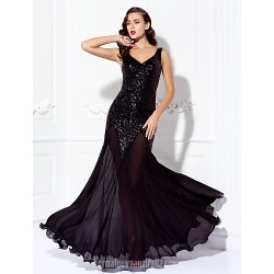 Dress Black Plus Sizes Dresses Petite A-line V-neck Long Floor-length Chiffon Sequined