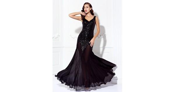 Dress Black Plus Sizes Dresses Petite A-line V-neck Long Floor-length  Chiffon Sequined