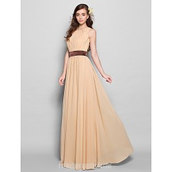 Long Floor-length Chiffon Bridesmaid Dress Champagne Plus Sizes Dresses Petite A-line Jewel