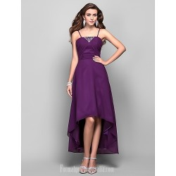 Australia Formal Dress Evening Gowns Prom Dress Grape Plus Sizes Dresses Petite A-line Princess Spaghetti Straps Asymmetrical Tea-length Chiffon