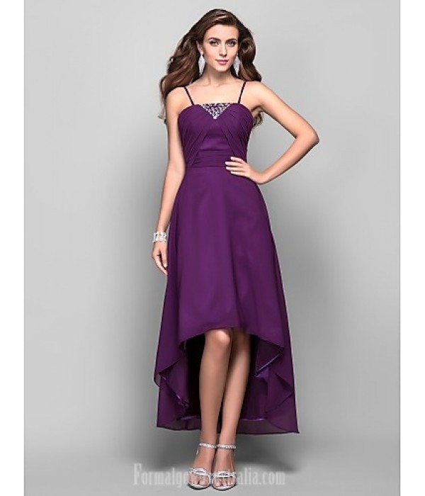 Australia Formal Dress Evening Gowns Prom Dress Grape Plus Sizes Dresses Petite A-line Princess Spaghetti Straps Asymmetrical Tea-length Chiffon Formal Dress Australia