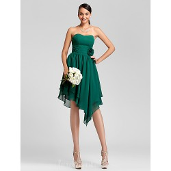 Asymmetrical Short Knee-length Chiffon Bridesmaid Dress Dark Green Plus Sizes Dresses Petite A-line Princess Strapless