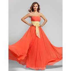 Long Floor-length Chiffon Bridesmaid Dress Watermelon Plus Sizes Dresses Petite A-line Strapless