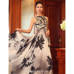 Australia Formal Dress Evening Gowns Print Plus Sizes Dresses Princess Bateau Long Floor-length Silk