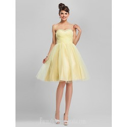 Australia Formal Dresses Cocktail Dress Party Dress Sweet 16 Dress Daffodil Plus Sizes Dresses Petite Ball Gown A-line Sweetheart Strapless Short Knee-length Tulle