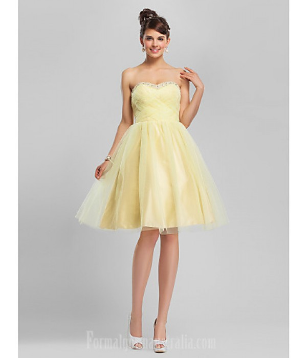 Australia Formal Dresses Cocktail Dress Party Dress Sweet 16 Dress Daffodil Plus Sizes Dresses Petite Ball Gown A-line Sweetheart Strapless Short Knee-length Tulle Formal Dress Australia