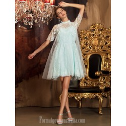 Short Knee Length Tulle Lace Bridesmaid Dress Sky Blue Plus Sizes Dresses Petite A Line High Neck