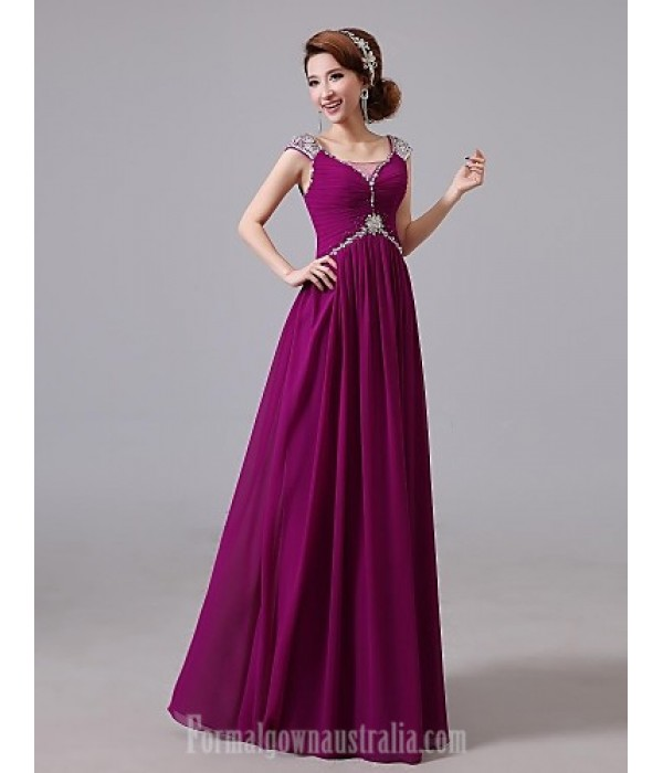 Australia Formal Dresses Cocktail Dress Party Dress Australia Formal Dress Evening Gowns Grape Jewel Long Floor-length Chiffon Formal Dress Australia