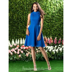 Short Knee-length Chiffon Bridesmaid Dress Royal Blue Plus Sizes Dresses Petite A-line High Neck