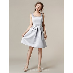 Short Knee Length Satin Bridesmaid Dress Silver Plus Sizes Dresses Petite A Line Square