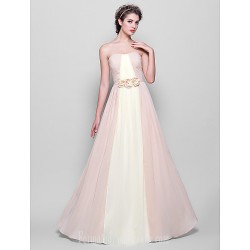 Long Floor-length Chiffon Bridesmaid Dress Multi-color Plus Sizes Dresses Petite A-line Strapless