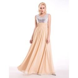 Australia Formal Dress Evening Gowns Champagne A-line V-neck Long Floor-length Chiffon Sequined