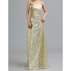 Australia Formal Evening Dress Gold Petite A-line Sexy One Shoulder Long Floor-length Chiffon
