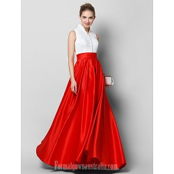 Australia Formal Dress Evening Gowns Multi-color A-line High Neck Long Floor-length Lace Dress Satin