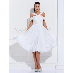 Australia Cocktail Party Dresses Holiday Prom Dress Ivory Plus Sizes Dresses Petite A-line Off-the-shoulder Short Knee-length Satin Chiffon Stretch Satin