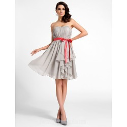 Australia Cocktail Party Dresses Graduation Dress Silver Plus Sizes Dresses Petite A-line Princess Sweetheart Strapless Short Knee-length Chiffon