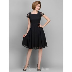 A Line Mother Of The Bride Dress Black Short Knee Length Short Sleeve Chiffon