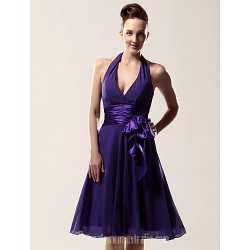 Short Knee-length Chiffon Bridesmaid Dress Regency Plus Sizes Dresses Petite A-line Halter V-neck