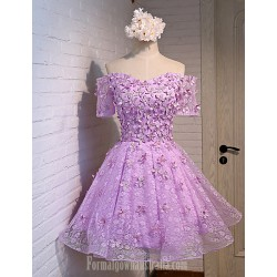 Australia Formal Dress Evening Gowns Lavender A-line Off-the-shoulder Short Knee-length Lace Satin
