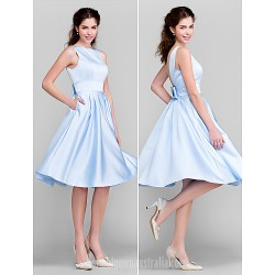 Short Knee Length Satin Bridesmaid Dress Sky Blue Plus Sizes Dresses Petite A Line Princess Bateau