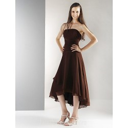 Tea-length Asymmetrical Chiffon Bridesmaid Dress Chocolate Plus Sizes Dresses Petite A-line Princess Strapless