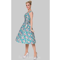 Australia Formal Dresses Cocktail Dress Party Dress Print Plus Sizes Dresses A Line Scoop Short Knee Length Cotton