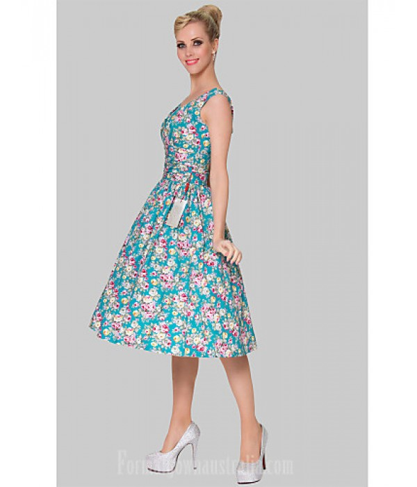 Australia Formal Dresses Cocktail Dress Party Dress Print Plus Sizes Dresses A-line Scoop Short Knee-length Cotton Formal Dress Australia