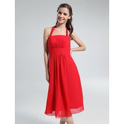 Short Knee Length Chiffon Bridesmaid Dress Ruby Plus Sizes Dresses Petite A Line Halter
