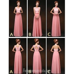Mix Match Dresses Long Floor-length Chiffon and Lace 3 Styles Bridesmaid Dresses