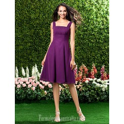 Short Knee Length Chiffon Bridesmaid Dress Grape Plus Sizes Dresses Petite A Line Straps Square